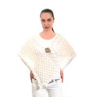 White Wedding Shawl Poncho, Knitted Bridal Shawl with sewn pearls and a natural mother-of-pearl brooch, Bridal Cape by Solandia, luxury