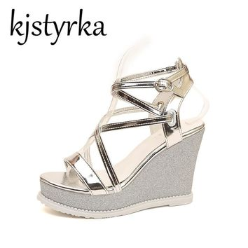 Kjstyrka Women Sandals 2018 Summer New Open Toe Fashion platform Ultra High Heels Wedge Sandals female shoes