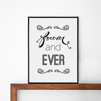 forever and ever quote poster print, Typography Poster, Home wall decor, Mottos, vintage, retro, song lyric quote graphic poster