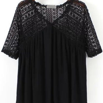 Black Crochet Lace V-Neck Pleated Blouse