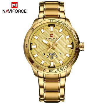 NAVIFORCE NF9090G Luxury Stainless Steel Gold Men's Quartz Sports Waterproof Watch