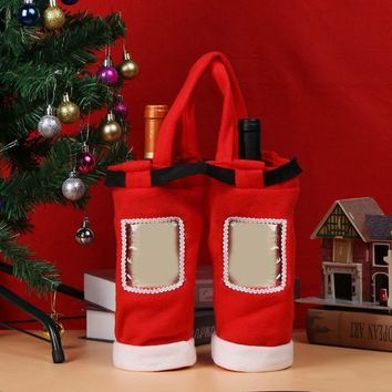 Christmas Wine Cover Bags - Santa Trousers