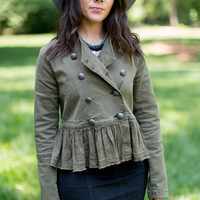 Free People Military Ruffle Hem Jacket