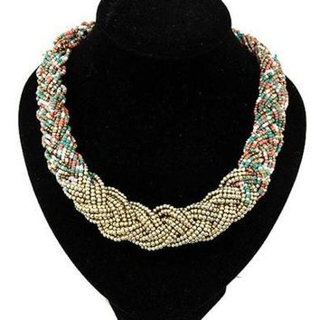 Bohemian Braided Seedbead Collares Choker Necklaces Vintage Jewerly Collar Statement Necklace for Women 2015 [8081686727]