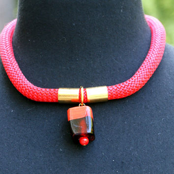 SALE Red Climbing cord necklace,rope, murano bead and gold color elements necklace,jewelry