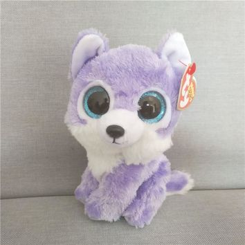 Ty Beanie Original Big Eyes Plush Toy Doll Child Brithday 10 - 15cm Purple Wolf TY Baby For Kids Gifts