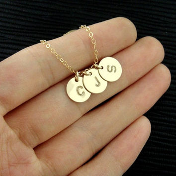 three letters disc necklace monogram initial necklace gold silver copper plated necklace bridesmaids brides party gift for best friends