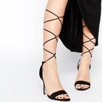 ALDO Casarolo Black Leather Heeled Tie Up Sandals