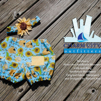 Baby Bloomers with matching Headband Newborn Honeybee Sunflowers Fabric Designed and Illustrated by ArtzeeChris