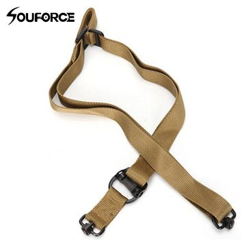 Tactical 2 Single Point Gun Sling Rifle Sling Bungee Strap Safety Nylon Belt Rope with Metal Hook for Hunting
