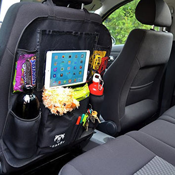 """Multifunctional Car Back Seat Organizer with Insulated Thermo Pockets & Touch Screen Tablet Holder up to 11"""" - Premium, Durable Car Toy Organizer, Kick Mat & Seat Back Protector   Lifetime Guarantee"""