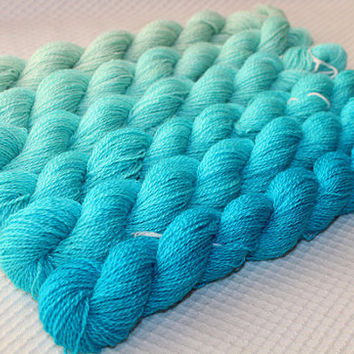 Gradient Yarn Set- Hand dyed Merino Superwash / Tussah Silk  yarn  in Ocean Breeze