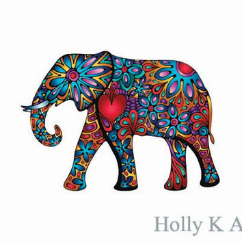 Mini Elephant Colorful Vinyl Hippie Flower Decal Car Sticker 60s