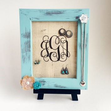 Earring Display - distressed teal with burlap vine monogram font
