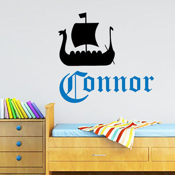 Nautical Wall Decals Personalized Name Decal  Baby Boy Bedroom Room Nursery Ship  Vinyl Sticker Custom Home Decor Murals MA285