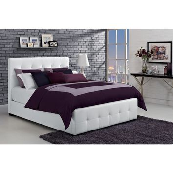 DHP Florence White Upholstered Full Bed | Overstock.com Shopping - The Best Deals on Beds