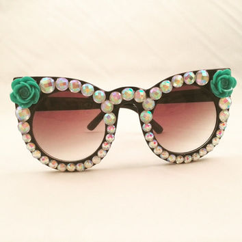 Cat Eye Sunglasses Embellished with Teal Roses & Rhinestones, Perfect for festivals!