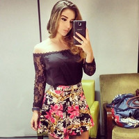 Black Lace Off-Shoulder Sleeve Shirt + Floral Mini Skirt