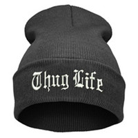 THUG LIFE Letter Embroidered Unisex Beanie Fashion 2pac Hip Hop Mens & Womens Knitted Dark Gray & White Tupac Cuffed Skully Hat