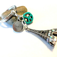 Eiffel Tower Key Chain, Peace Symbol Keychain, PARIS STRONG, Peace for Paris, Turquoise Keychain, World Peace