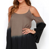 O'Neill Sun Dip Brown Off-the-Shoulder Dress