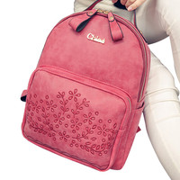 Floral Pattern Faux Leather Backpack