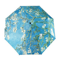 GLODEALS Oil Painting Automatic 3 Folding Parasol Sun Protection Anti-UV Umbrella for Women (Almond Blossom)