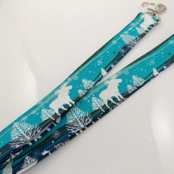 Moose Lanyard Teacher Lanyard Holiday Lanyard Teal Lanyard Moose Necklace Moose Key Holder Nurse Key Holder Nurse Lanyard