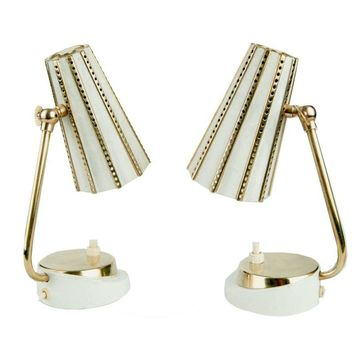 Pre-owned Stilnovo Retro Brass & White Lamps - A Pair