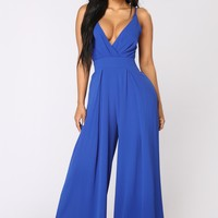 Strike A Pose Tie Jumpsuit - Royal