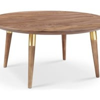 Victory Round Coffee Table WALNUT/GOLD