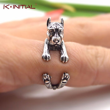 Kinitial 1PCS Punk Vintage 3D Pit Bull Puppy Dog Animal Adjustable Boho Chic Pitbull Rings For Women Aneis Jewelry Drop Shipping
