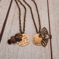 Custom Harry Potter Friendship Necklace Set with Owl Charms - CHOOSE YOUR OWLS-  Harry Potter Jewelry
