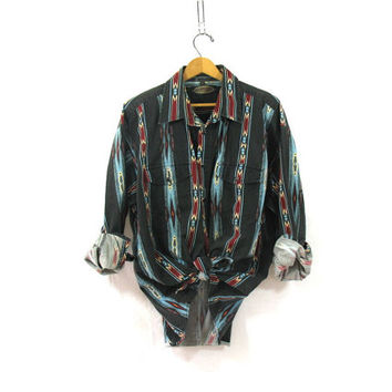 Vintage tribal print shirt. western shirt. Black snap up shirt.