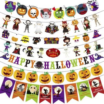 3m Colorful Witch Pumpkin Bat Paper Hanging Garland Halloween Party Pennant Banner Haunted House Props for Home Bar Decoration