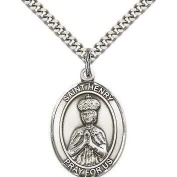 "Saint Henry Ii Medal For Men - .925 Sterling Silver Necklace On 24"" Chain - 3... 617759408881"