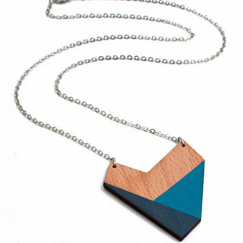 Geometric wooden polygon necklace - turquoise blue, petrol blue, natural wood - minimalist, modern jewelry - color blocking
