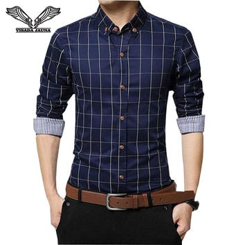Men's Dress Shirts 2016 New Spring Fashion Slim Fit Long Sleeve Male Plaid Cotton Casual Social Shirts Plus Size 5XL N346