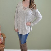 Keep Your Cool Criss Cross Sweater: Cream