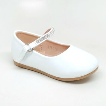 Toddler's White Shiny Flats with Rhinestone Details and Hook and Loop Strap