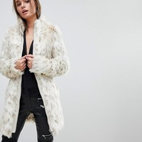 Lipsy White Leopard Faux Fur Coat at asos.com
