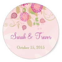 Custom Modern Floral Wedding Invitation Stickers