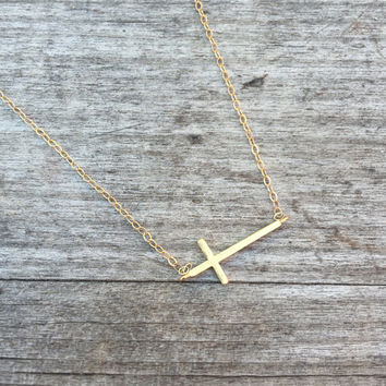 Dainty Cross Necklace - Small Cross Necklace - Jewelry Sale -Horizontal Cross Necklace- Gold Necklace - Simple Necklace