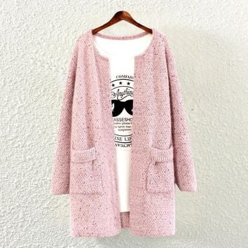 Womens Pink Knit Sweater