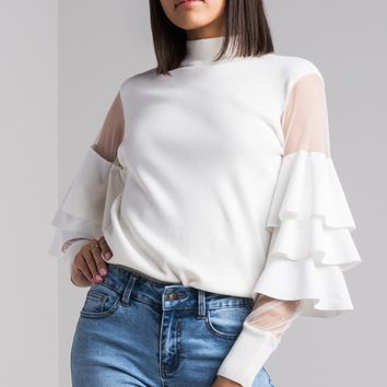 AKIRA Mock Neck Knitted Mesh Ruffle Sleeve Sweater in Black, Ivory