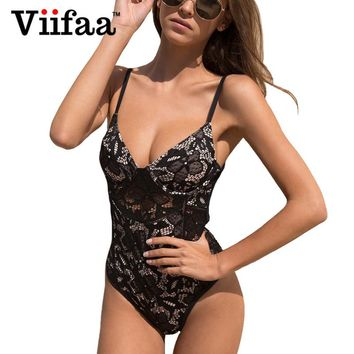 Viifaa Sexy Black Lace Bodycon Jumpsuit Padded Bodysuits for Women V Neck Backless Crisscross Romper