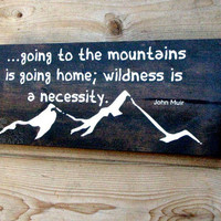"Going to the Mountains wood wall art, wildness, 18""x7"", cabin decor,rustic wall decor,mountain love, pine wood, stained, painted, muir quote"
