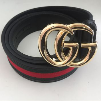 Gucci Big G Gold Metal Buckle Belt Men Leather Belt 50/125 With Box Free Ship