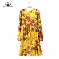 2015 spring autumn new women's fall new runway design long sleeve yellow squirrel and floral print causal pleated dress