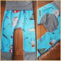 Tribal • Animals Maxaloones with Grey & White Stripes! Adorable and Fun! Grow with me leggings ~ Fit 6m to 3T!